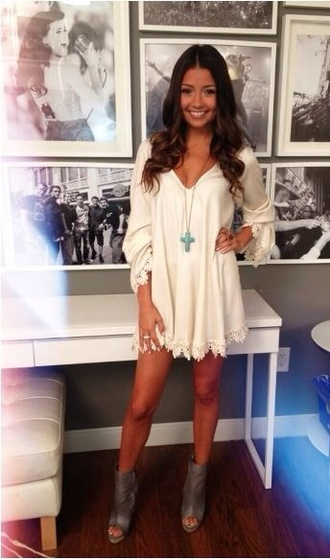 white dress long sleeve dress mini dress summer dress statement necklace ankle boots grey boots dress whit crop top yellow ebonylace.storenvy ebonylace-streetfashion bohemiam crop off shoulder crop sundress strapless white fringe dress shoes