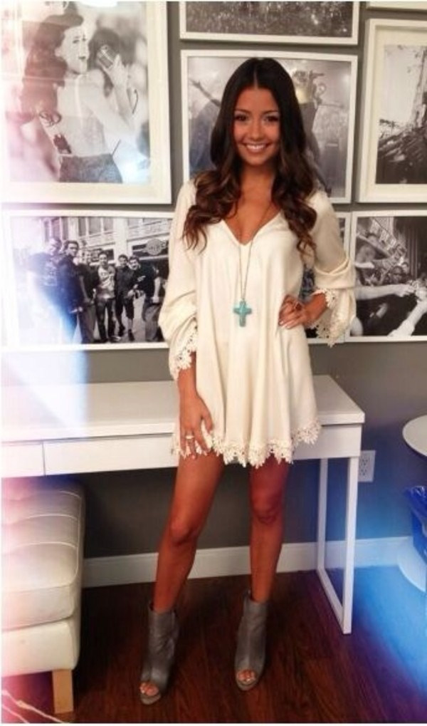 white dress long sleeve dress mini dress summer dress statement necklace ankle boots grey boots
