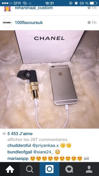 home accessory charger lipstick chanel iphone charger