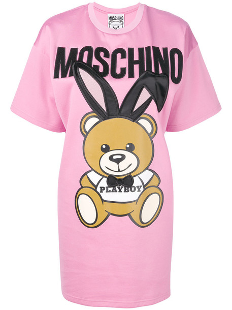 Moschino dress shirt dress t-shirt dress women cotton purple pink