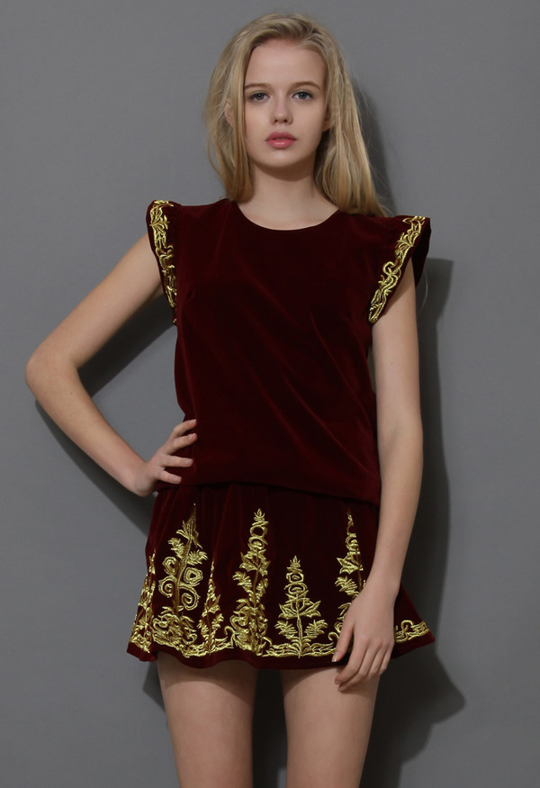 dress gold embroidered velvet top and skirt set wine