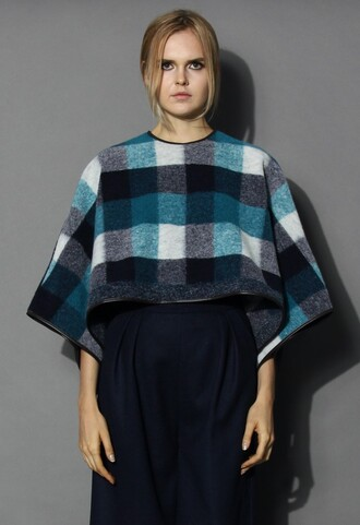top chicwish faux leather trimming poncho check pattern poncho wool blend poncho