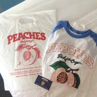 shirt blue white peach indie peaches lovely