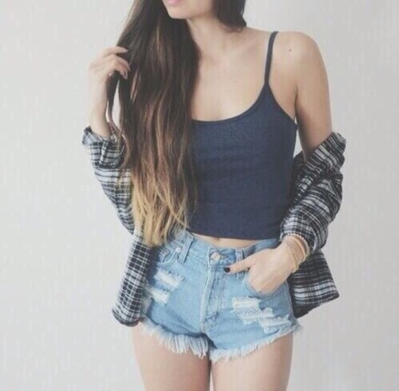 jacket plaid shirt shirt high waisted denim shorts cut off shorts shorts ombre hair ombre bleach dye american flag shorts flowered shorts jeans shorts high-waisted shorts tumblr shorts white lace shorts black tank top coat