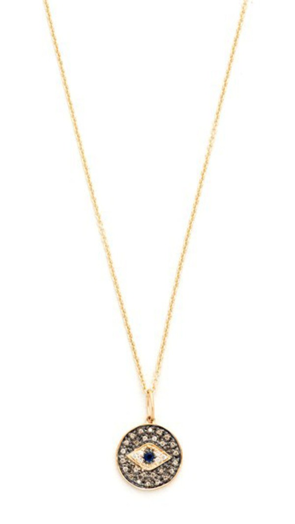 Sydney Evan Small Eye Disc Necklace in gold