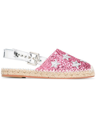 high women espadrilles leather purple pink shoes