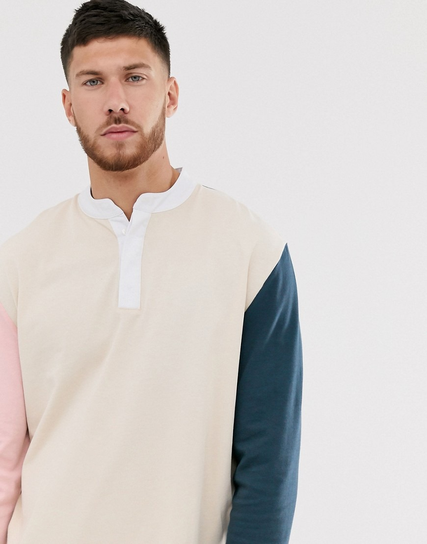 ASOS DESIGN relaxed long sleeve t-shirt with grandad neck and contrast sleeves