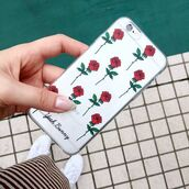 phone cover,yeah bunny,iphone case,flowers,rose,red,transparent,cute