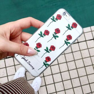 phone cover yeah bunny iphone case flowers rose red transparent cute