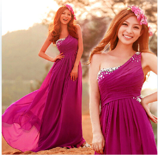 prom dres prom dress prom purple bridesmaid one shoulder