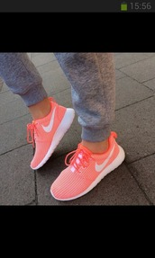 shoes,orange,white,nike air,roshe runs,nike roshe run,nike,euro,german,nike roshe run running shoes,shorts