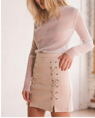 skirt girl girly girly wishlist nude suede suede skirt lace up mini skirt high waisted skirt high waisted