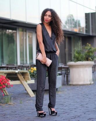 from hats to heels blogger jumpsuit black jumpsuit miu miu pumps