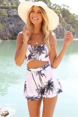 romper dream closet couture palm tree print palm tree cut-out white