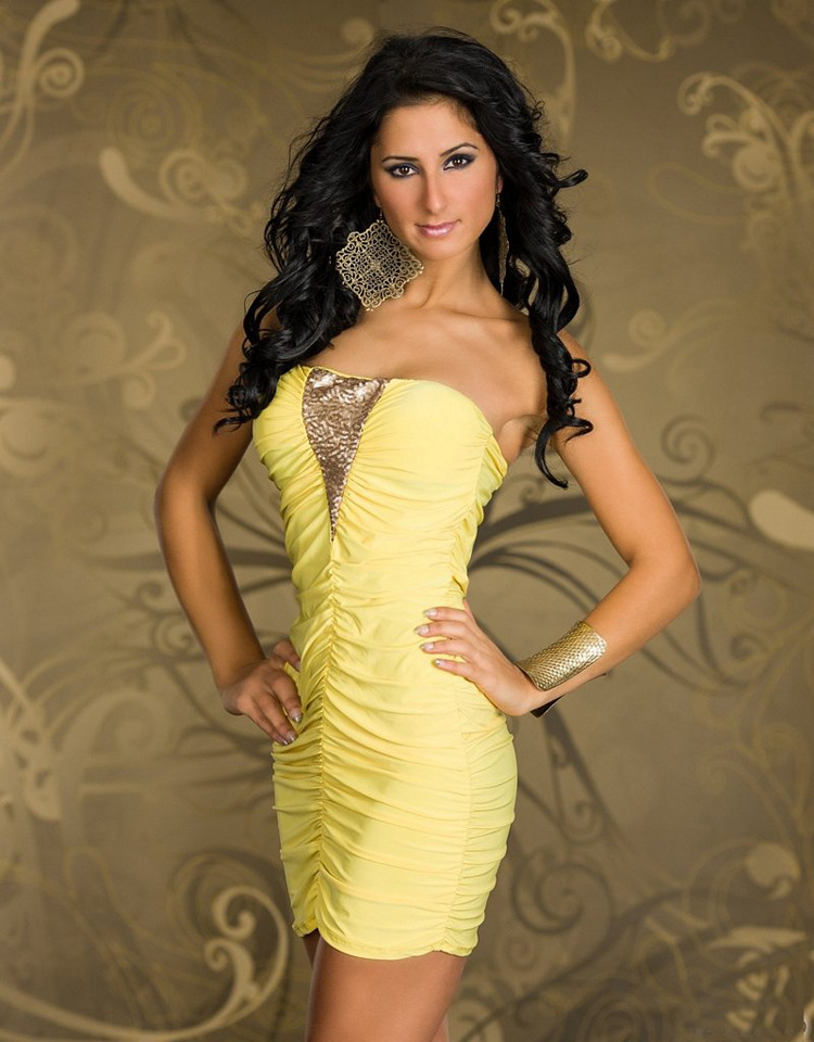 2014 Free Shipping Yellow No Shoulder sexy dress woman bodycon club dresses mini casual novelty high street | Amazing Shoes UK