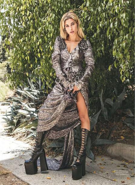 dress shoes platform shoes hailey baldwin model editorial silver metallic maxi dress
