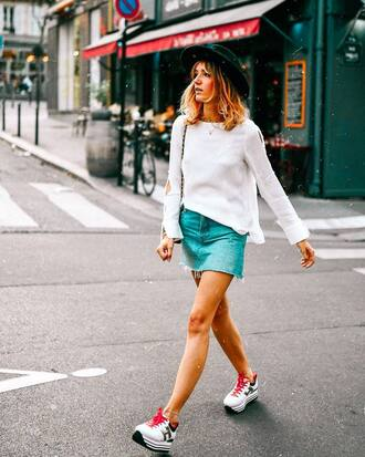 skirt white sweater tumblr mini mini skirt denim denim skirt sweater sneakers platform sneakers