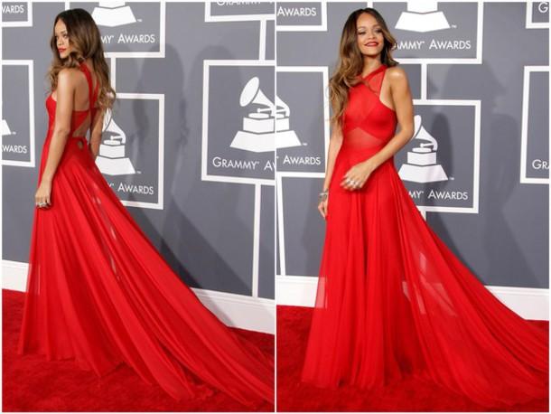 dress rihanna red dress