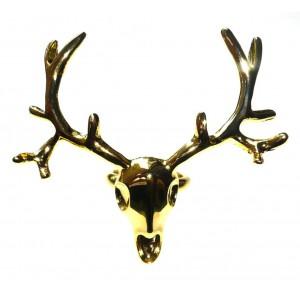 Gold Deer Skull Ring