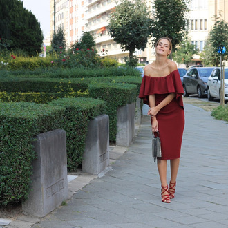 from brussels with love blogger dress shoes bag off the shoulder dress red dress midi dress sandals high heel sandals