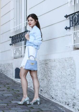 elodie in paris blogger shirt skirt shoes bag
