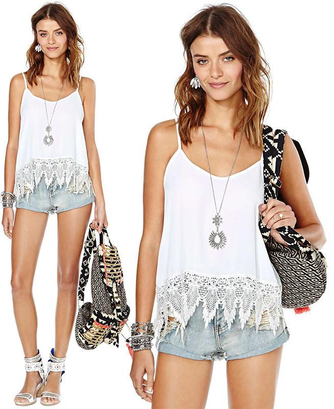 Lace stitching vest xq63014