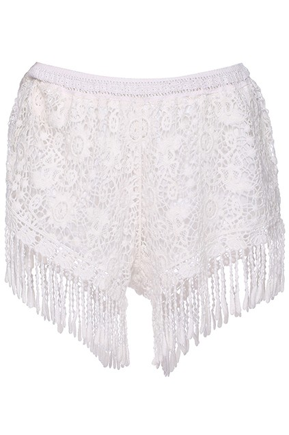 Crochet Tassel Trim Shorts - All