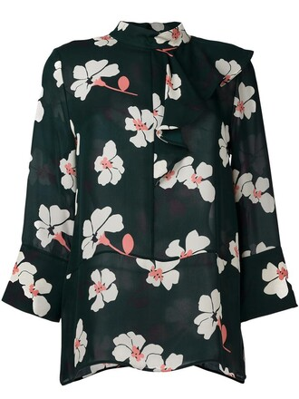 blouse ruffle women print silk green top