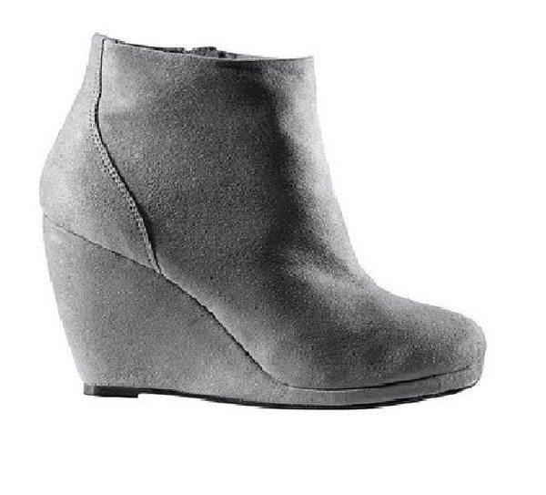 Boutique 9 Dark Grey Suede Wafer Ruched Wedge Boots At