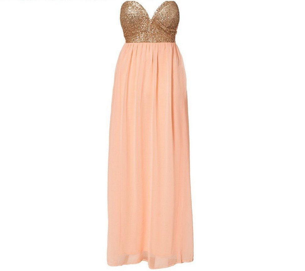 Cute spell chiffon strapless dress with sequins / fanewant
