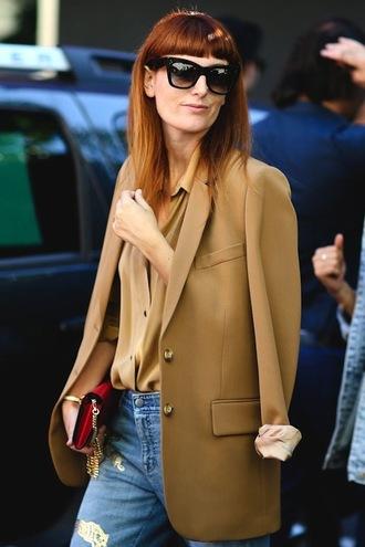 le fashion image blogger sunglasses jacket t-shirt blouse bag