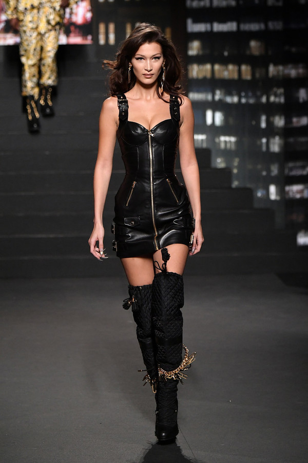 dress fall outfits boots over the knee leather bella hadid model runway mini dress