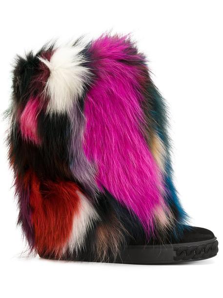 CASADEI fur faux fur women leather suede black shoes