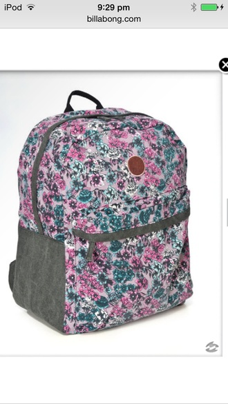 bag billabong gray pink and blue backpack