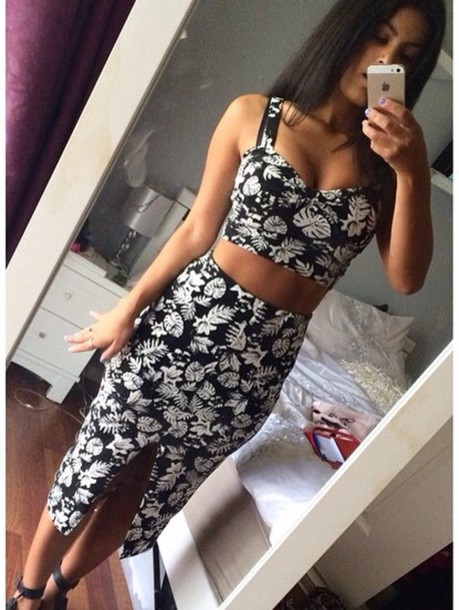 dress crop tops skirt black and white flowers leaves matching set