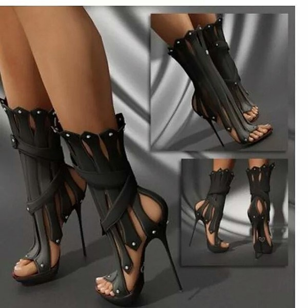 shoes heels stilettos ankle cuff sandals peep toe fashion bones ankle boots high heel celebrity heels high heels high super sexy sexy sexy shoes gladiators stelleto black booties boots midcalf boots black gladiator heels black high heels black celebrity style black heels six inch heels gladiators any color