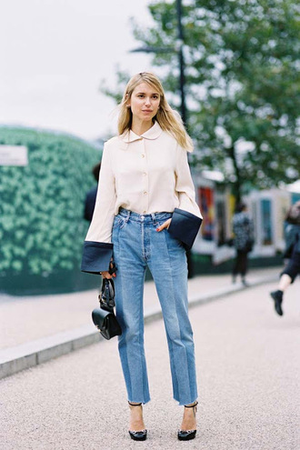vanessa jackman blogger white blouse bell sleeves cropped jeans