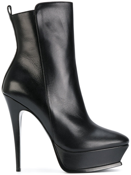 Saint Laurent women ankle boots leather black shoes