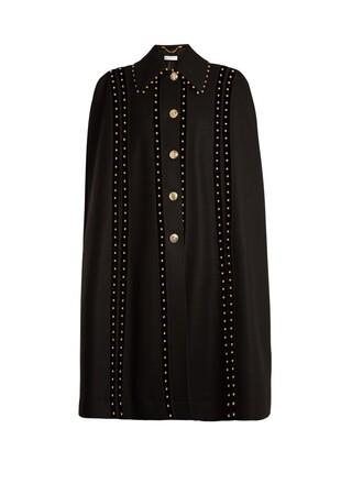cape embellished wool black top