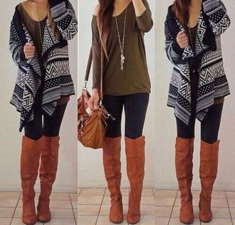 shirt shoes sweater cardigan tribal black/white boots knee high boots fashion tribal pattern fall outfits comfy cute sweaters outfit bag knitted cardigan t-shirt accessories coat tumblr tumblr outfit grey sweater leggings