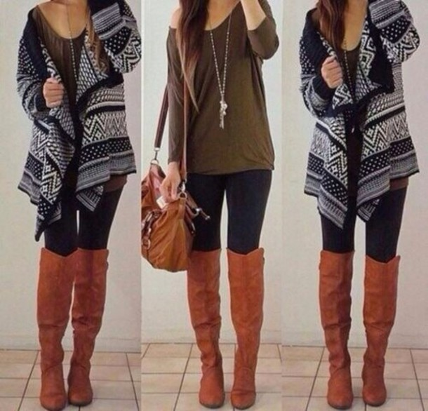 Shirt: cardigan, tribal black/white, shoes, boots, knee ...