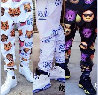 jeans jogging pants belt pants emoji pants