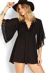 dress,boho,black,crochet