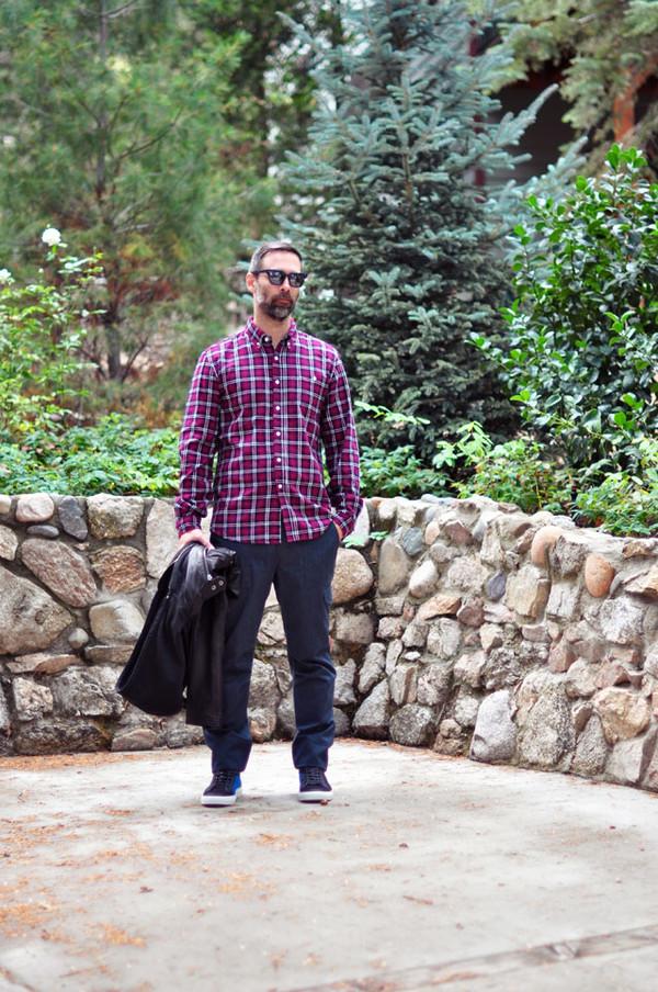 love maegan blogger sunglasses menswear flannel shirt purple leather jacket