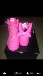 shoes,pink,nike air force 1,high top sneakers,nike,nike air,pink sneakers,bubblegum pink,tribal pattern,nike tribal shoes,aztec,aztec nikes,nike sneakers,sneakers,pink neon,rose,pink nike high tops,nike air force,rare,pink nike air force 1s,girly,urban,pink nike air force 1,sneakers nike air max neon pink,tumblr shoes