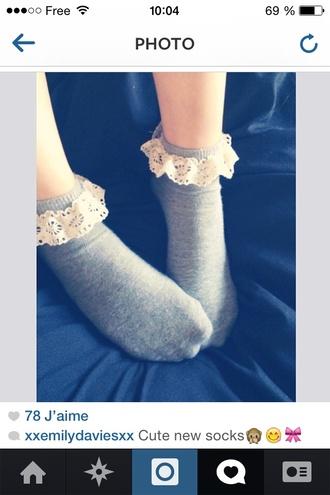 dentelle grunge socks grey girl indie