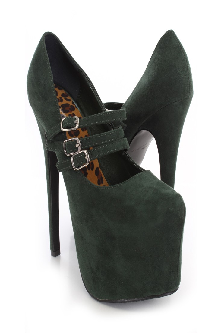 Olive Green Faux Suede Strappy Maryjane Heels  Heel Shoes online store sales:Stiletto Heel Shoes,High Heel Pumps,Womens High Heel Shoes,Prom Shoes,Summer Shoes,Spring Shoes,Spool Heel,Womens Dress Shoes,Prom Heels,Prom Pumps,High Heel Sandals