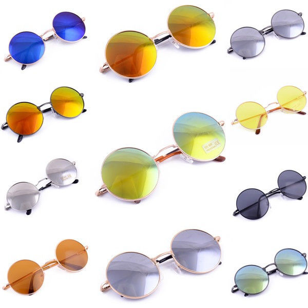 High Quality Fashion Unisex Retro Style Round Silver Metal Frame Sunglasses | eBay