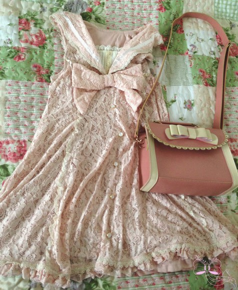 dress lace dress pink lace kawaii