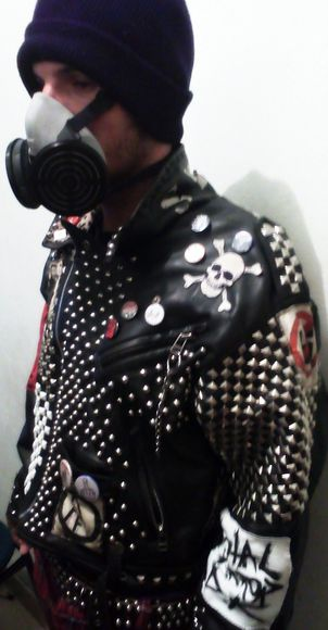 jacket leather black perfecto skull studs